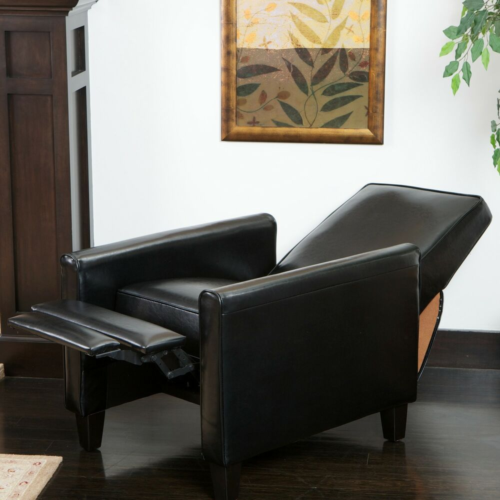 black living room chair darvis black bonded leather recliner club chair by 12688