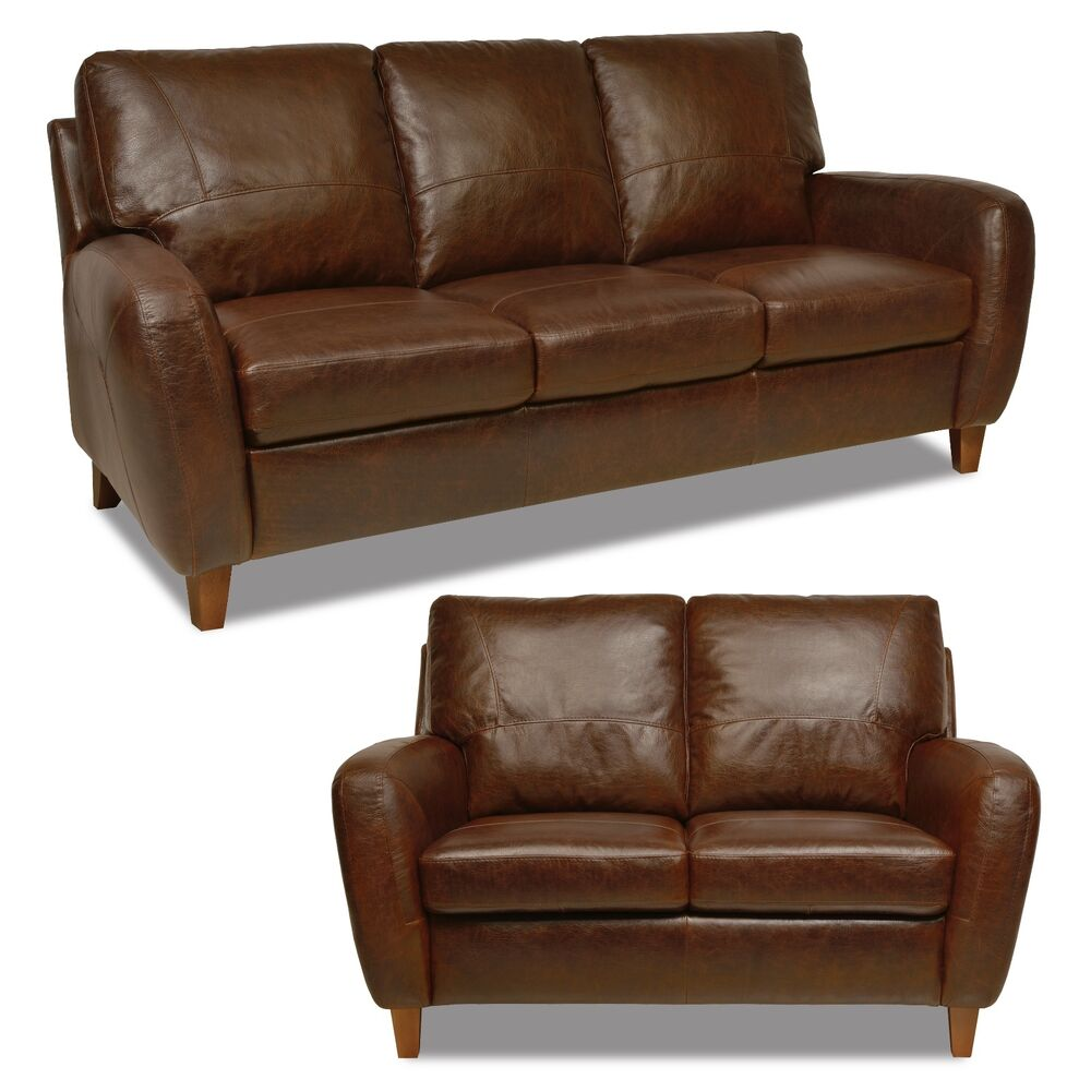 New Luke Leather Genuine Italian Made Jennifer Brown Leather Sofa And Loveseat Ebay