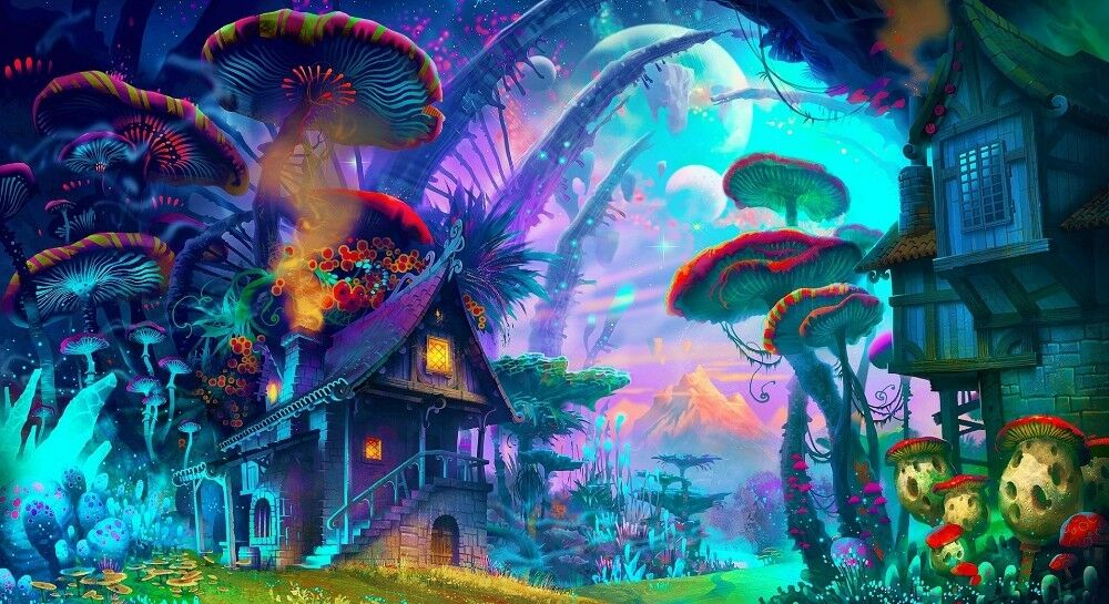 psychedelic trippy art silk poster home decor wall sticker