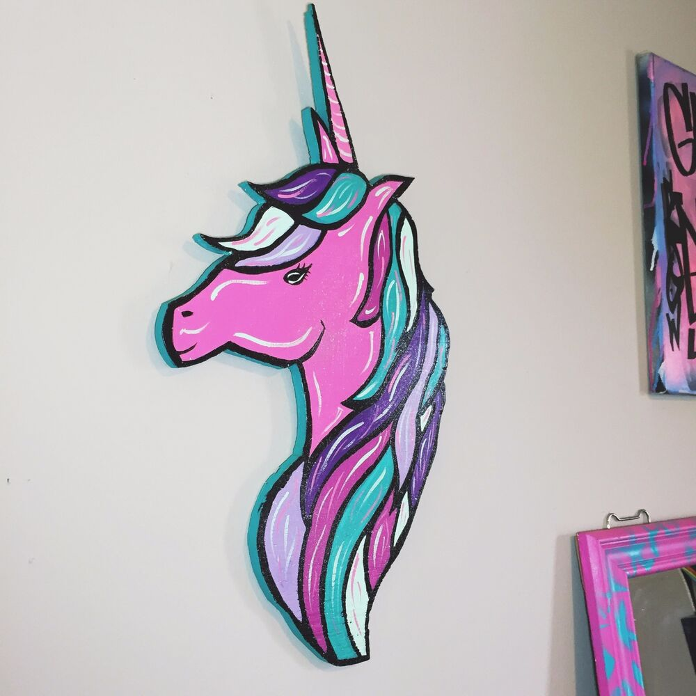 Pink Glittered Unicorn Head Hand Painted Wood Cut Out
