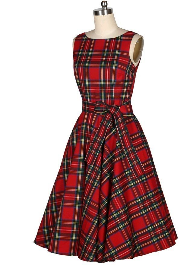 Women Vintage Retro Plaid 50s 60s Rockabilly Housewife Party Pinup Swing Dress | eBay