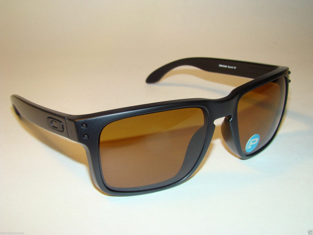 new oakley lenses nw9b  New Oakley Holbrook 9102-98 Matte Black Bronze POLARIZED Lens Retail $170