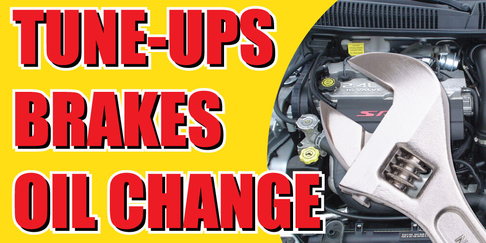 2 X4 Tune Ups Brakes Oil Change Banner Sign Cars A C