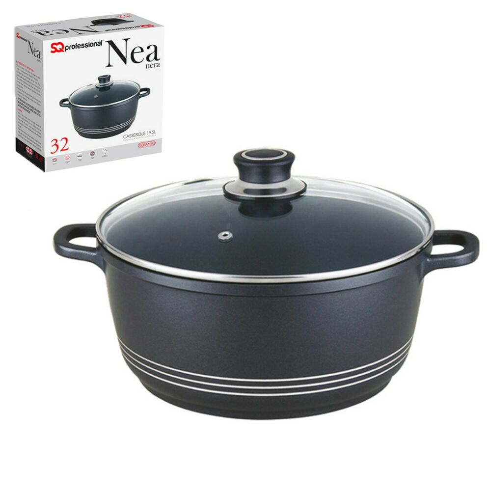 9l 32cm induction non stick casserole pot cooking stew pan. Black Bedroom Furniture Sets. Home Design Ideas