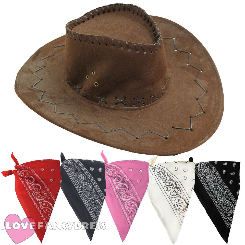 Details about BROWN FAUX SUEDE COWBOY HAT AND PAISLEY BANDANA WILD WEST  FANCY DRESS COSTUME b9836be12267