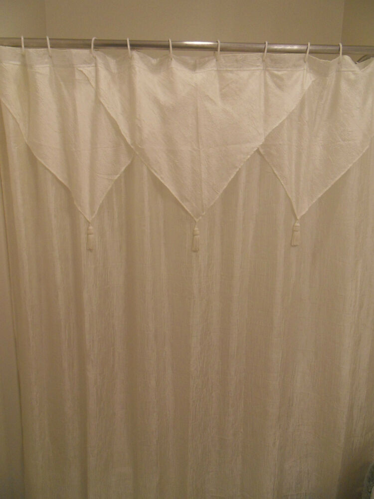 Elegant Beige Shower Curtain Tailored Panel W Attached