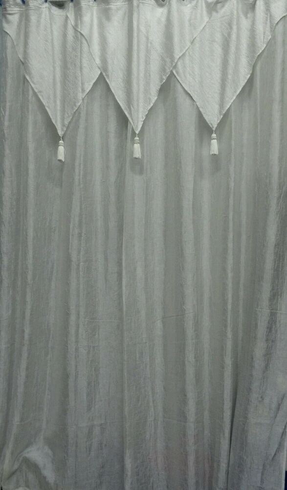 Vintage Ivory Shower Curtain Tailored Panel W Attached
