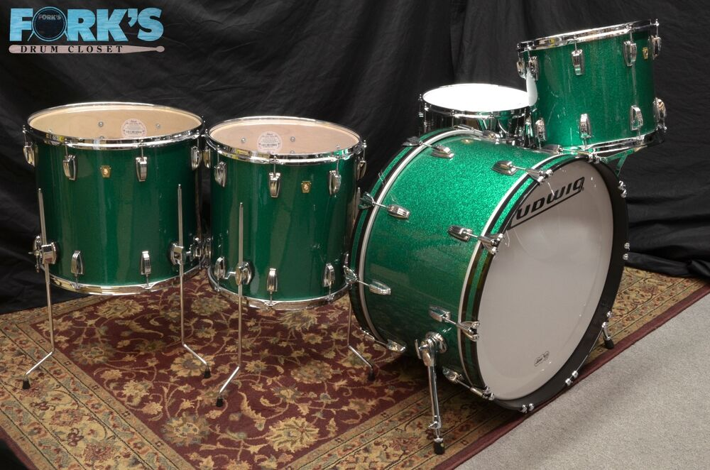 New ludwig classic maple 5pc drum set green sparkle ebay for Classic house drums