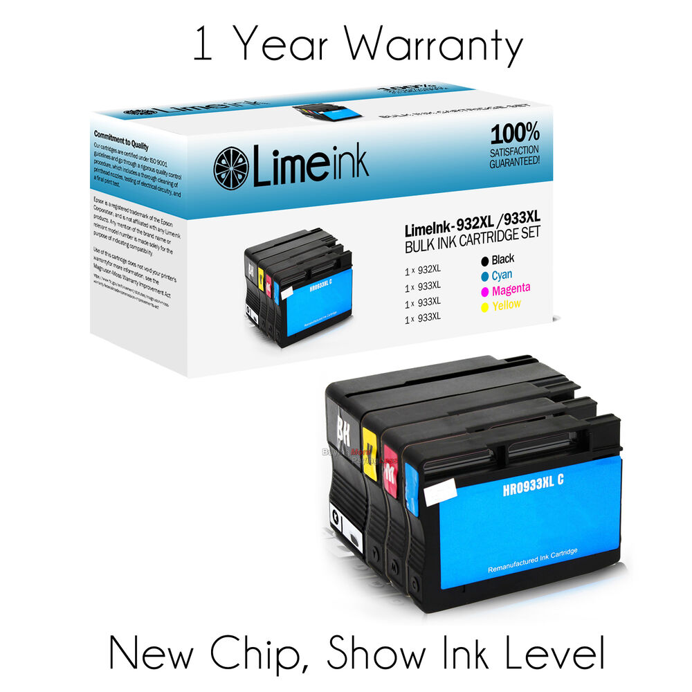 4 pack 932xl 933xl ink cartridges for hp officejet 6100 6600 6700 7610 7100 7110 ebay. Black Bedroom Furniture Sets. Home Design Ideas