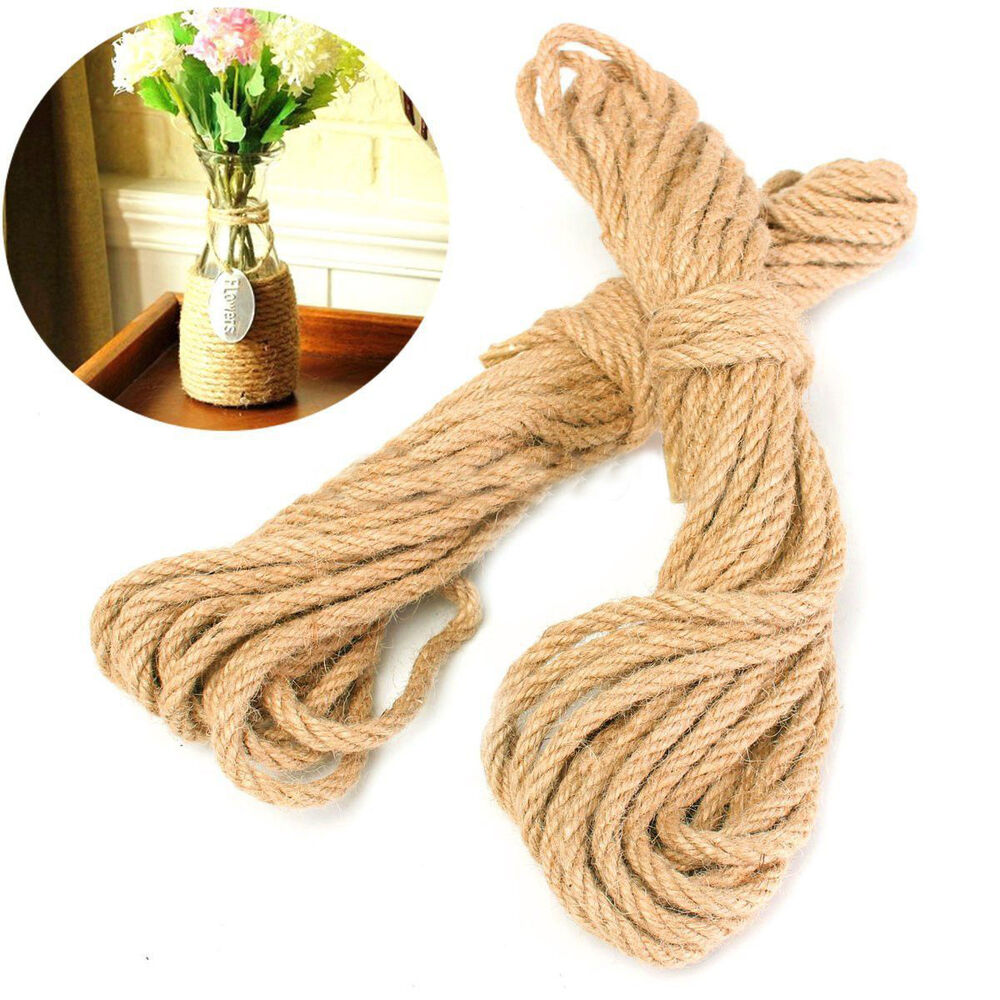 20M Twisted Burlap Jute Twine Rope Thick Natural Hemp Cord ...
