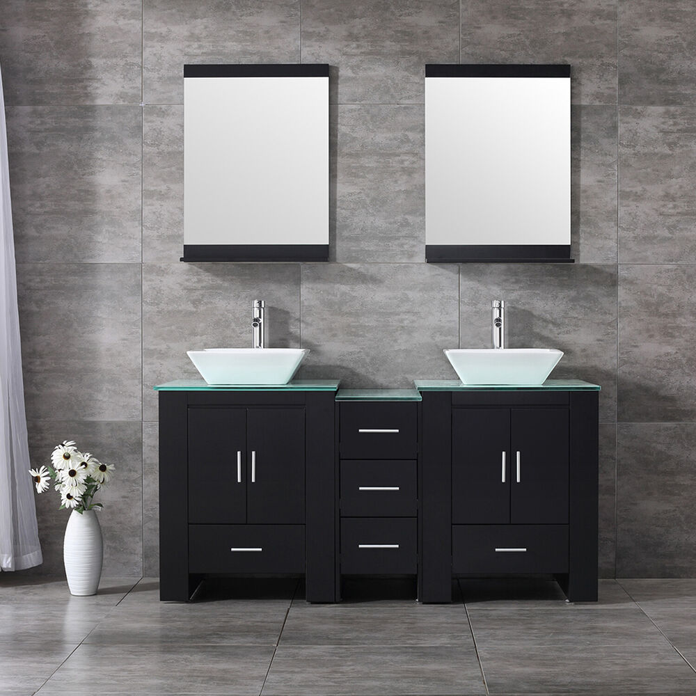 Modern 60 double ceramic sink bathroom vanity cabinet wood top w mirror black ebay - Black bathroom sink cabinets ...
