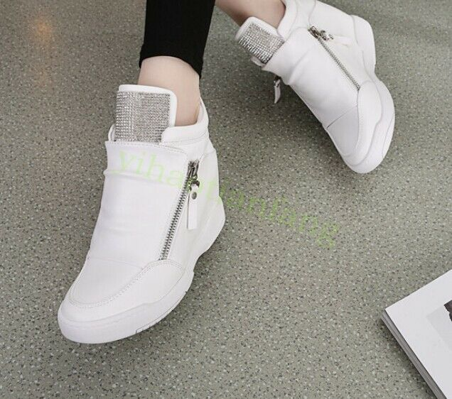 high top womens zip leisure wedge heels fashion