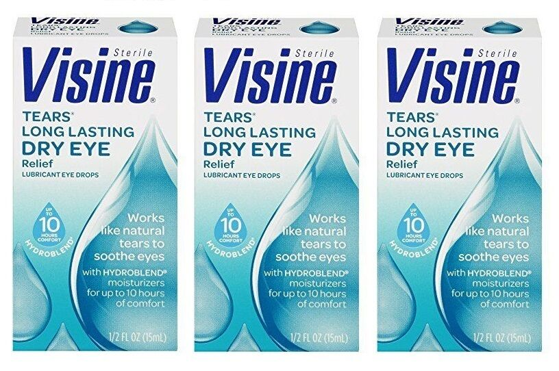 dry eye drops 3 pack visine tears lasting eye relief lubricant 12337