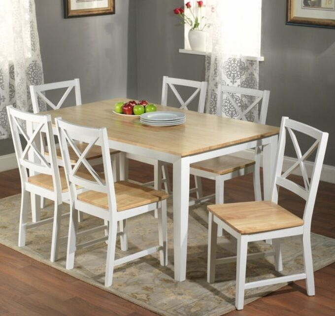 7 pc white dining set kitchen room table chairs bench wood for White kitchen table set
