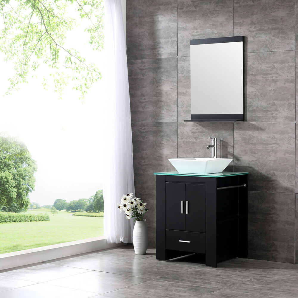 24 wood bathroom sink vanity cabinet ceramic bowl modern for Bathroom washbasin cabinet