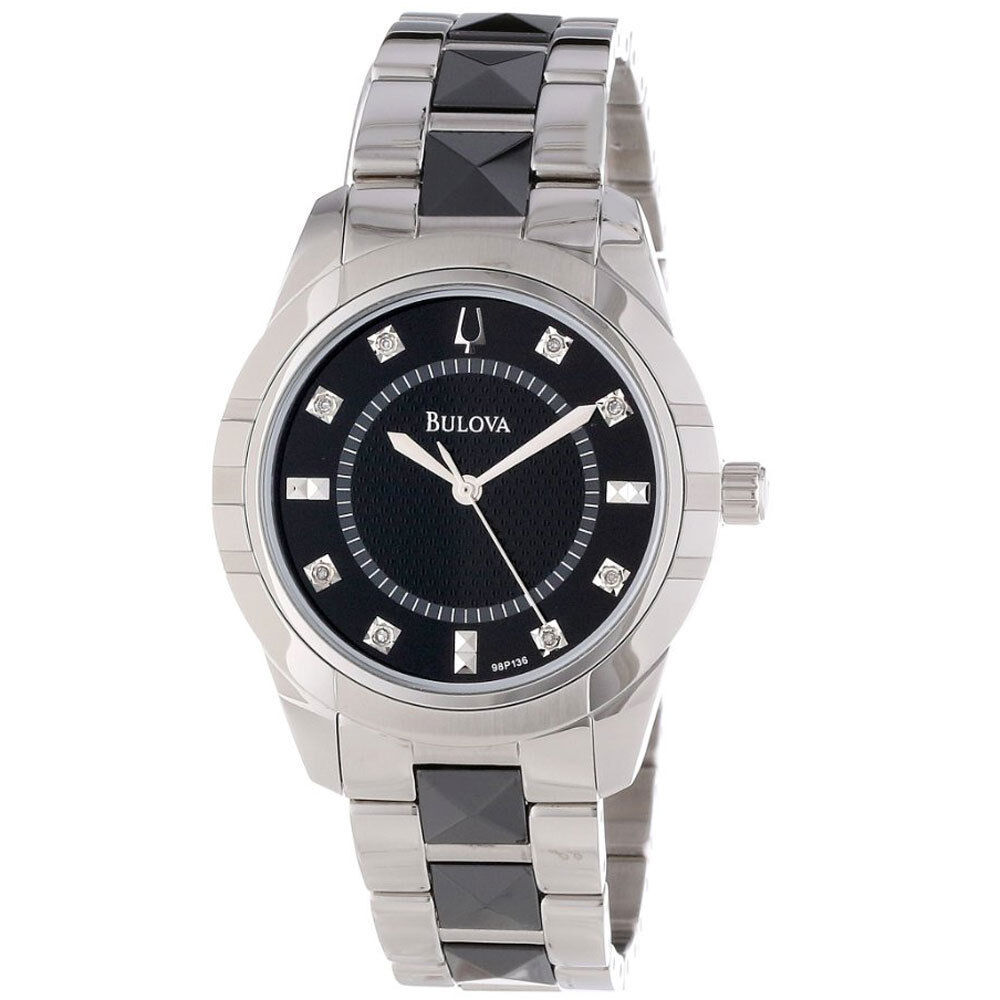 Bulova women 39 s 98p136 diamond dial black and silver tone stainless steel watch ebay for Diamond dial watch