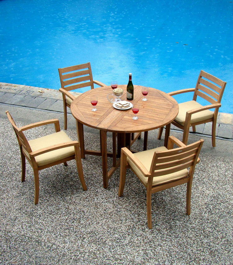 5 pc dining teak set garden outdoor patio furniture pool for Pool and patio furniture