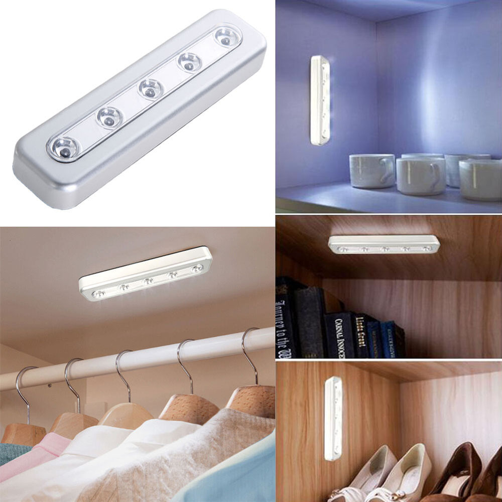 Tv Helping Push Kitchens Off The Shelf: 5-LED Tap Lights Self-Stick Under Cabinet Push Night Light