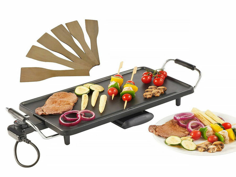 electric teppanyaki table top grill griddle bbq barbecue w 8 free spatulas 2000w ebay. Black Bedroom Furniture Sets. Home Design Ideas