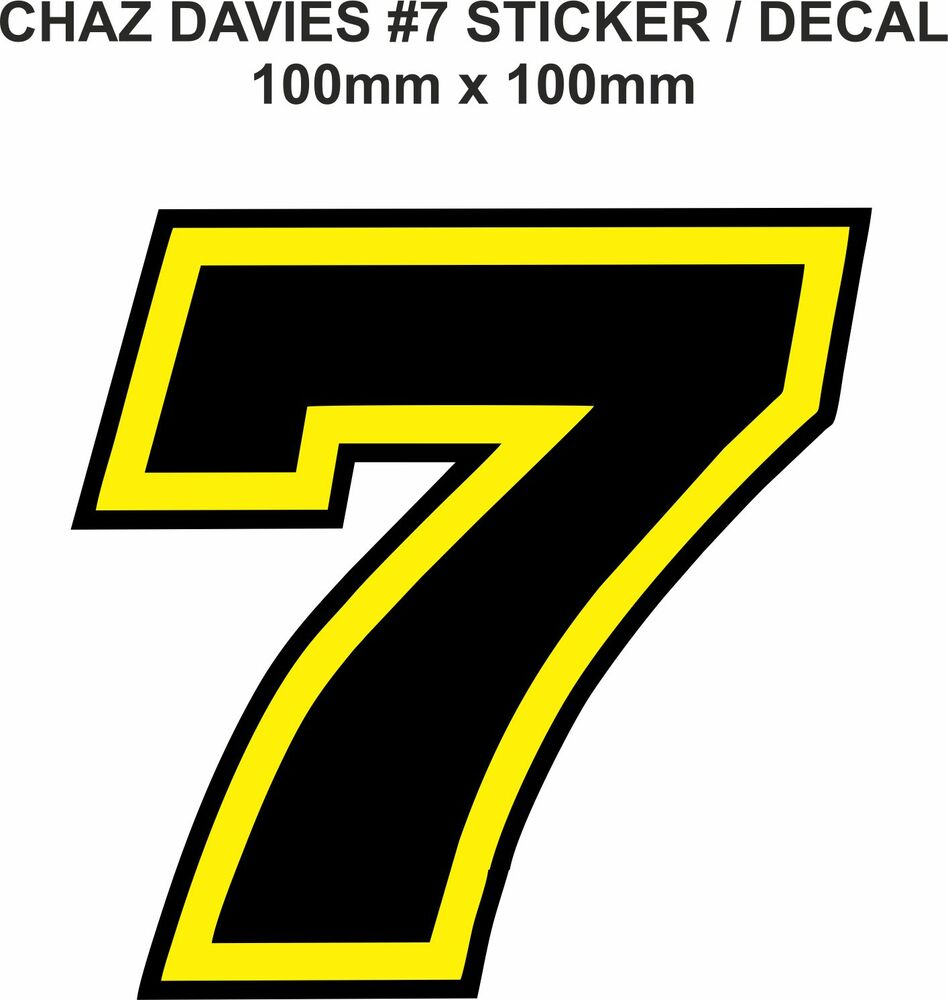 chaz davies number 7 decal sticker  100mm x 100mm