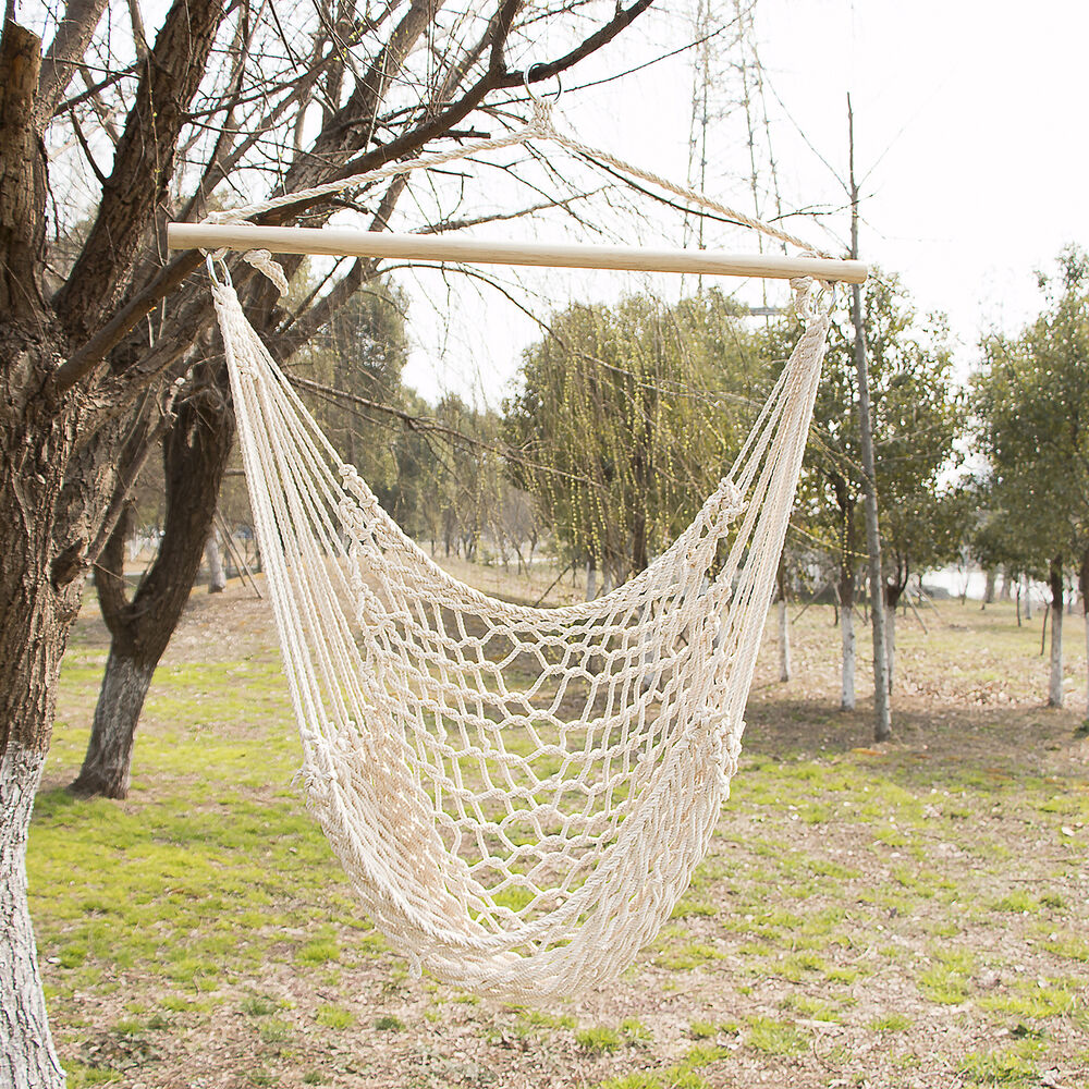 outdoor hanging swing cotton hammock chair solid rope yard. Black Bedroom Furniture Sets. Home Design Ideas