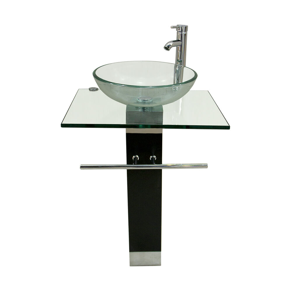 Bathroom Pedestal Tempered Clear Glass Vessel Sink
