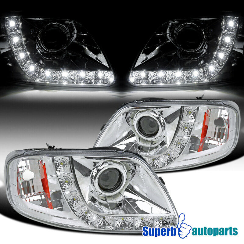 Ford F150 99: 97-03 Ford F150 Expedition Chrome Projector Headlights W