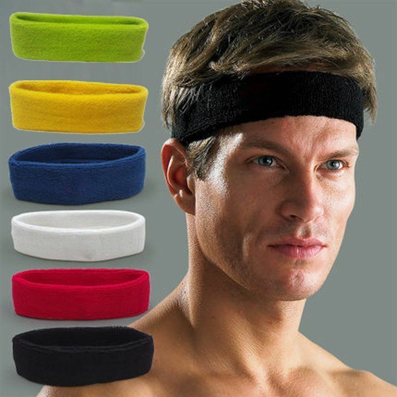 Cotton Women Men Sport Sweat Sweatband Headband Yoga Gym