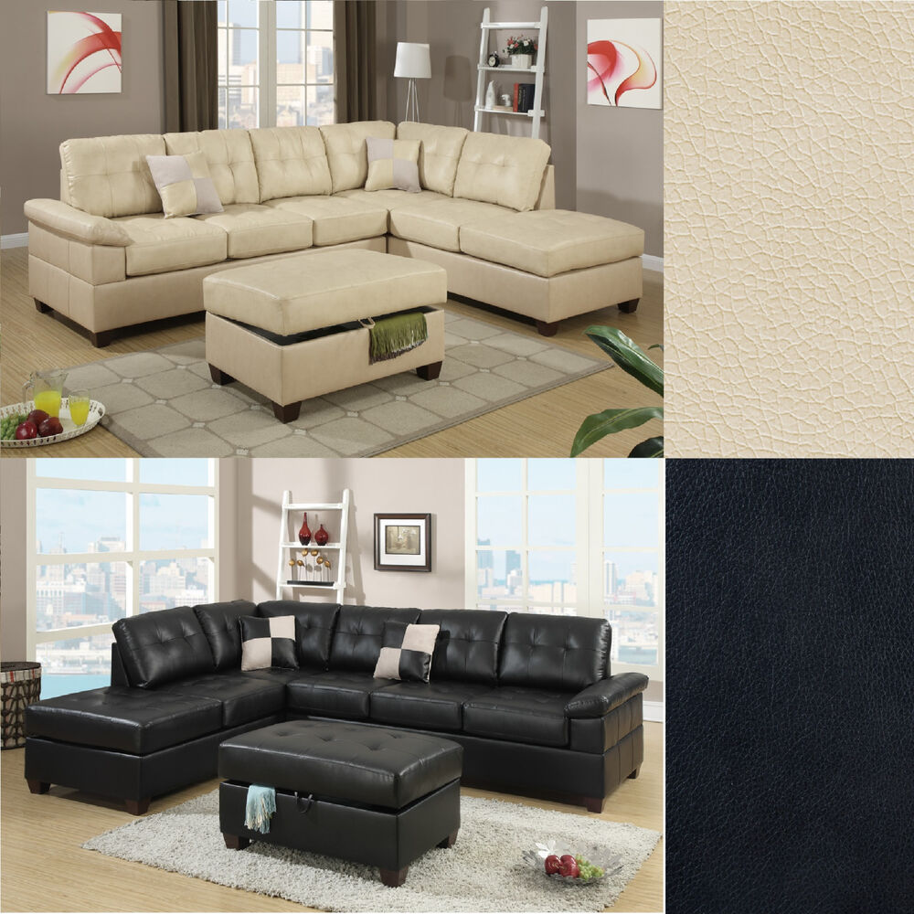 Contemporary Sectional: 2 Pcs Sectional Sofa Couch Bonded Leather Modern Living