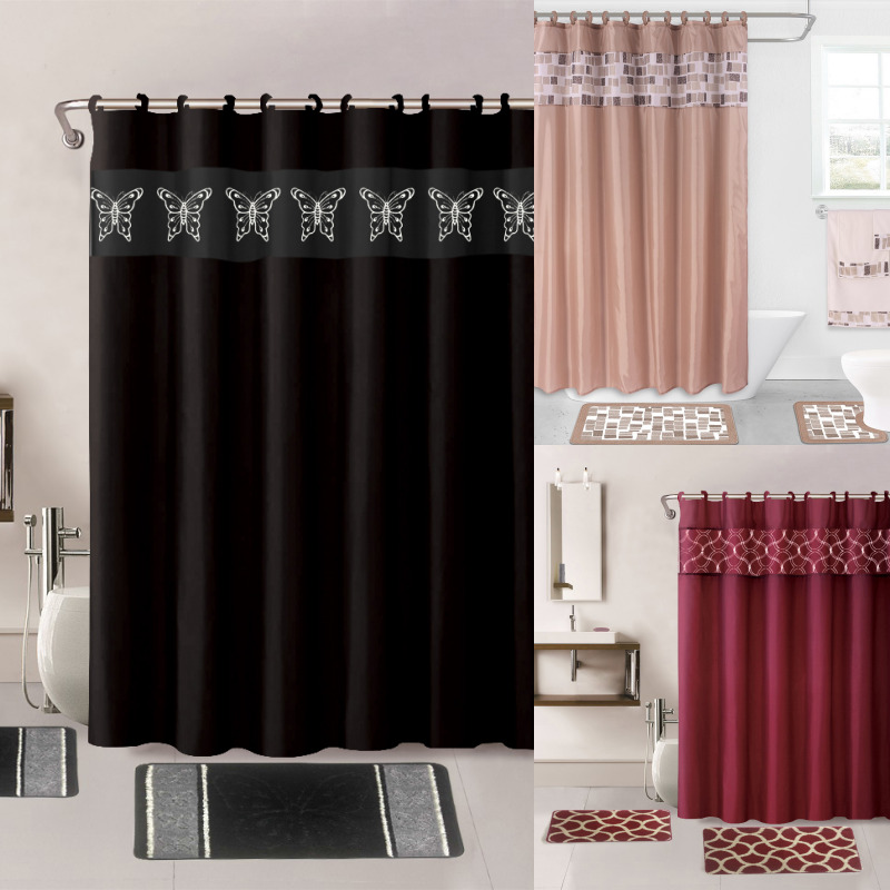 Shower Curtains: 15PC PRINTED BANDED BATHROOM SHOWER CURTAIN SET BATH MAT