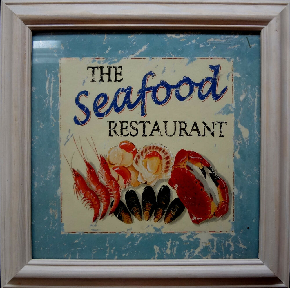 The seafood restaurant sign seaside decor kitchen cooking