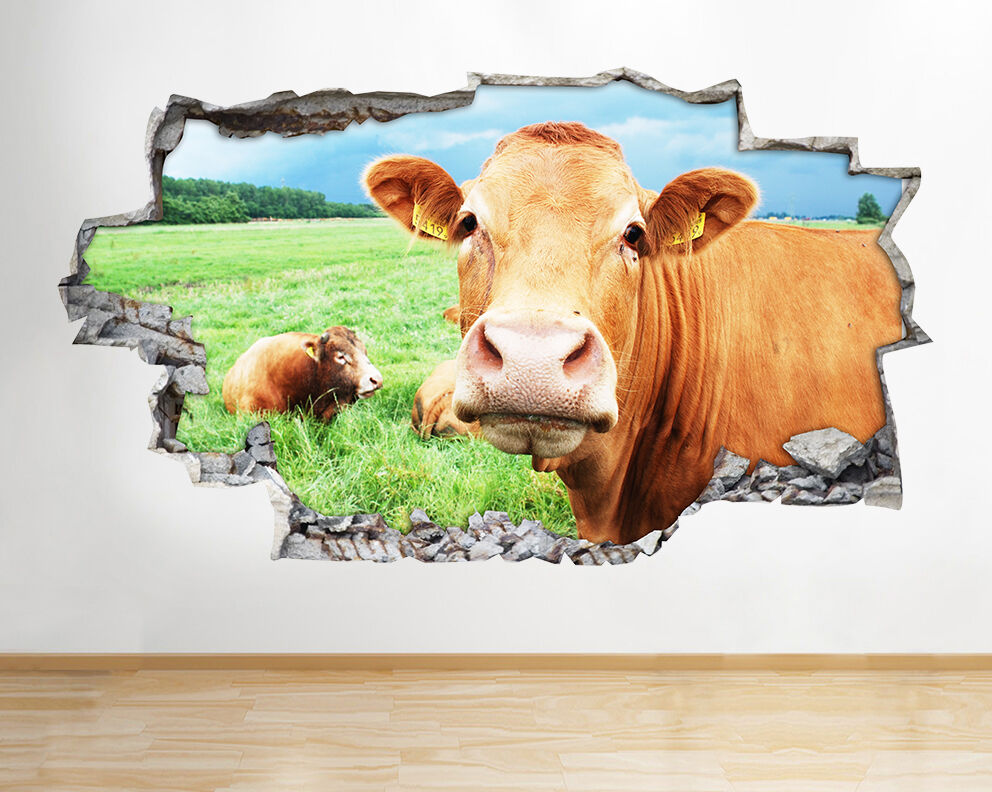 Cow Farm Field Funny Kitchen Nature Animal Wall Decal 3d
