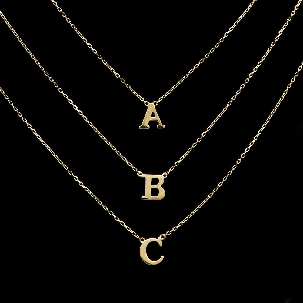 14k yellow gold initial a z letter charm pendant cable for 14k gold letter necklace