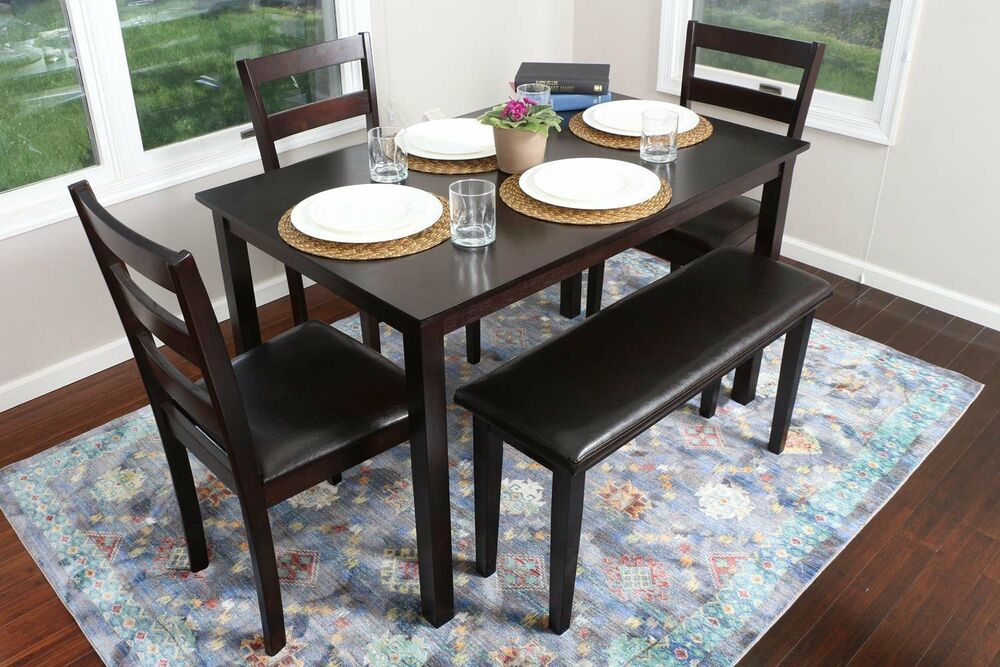 5pc espresso dining table set dinette chairs bench kitchen for Kitchen table sets with bench