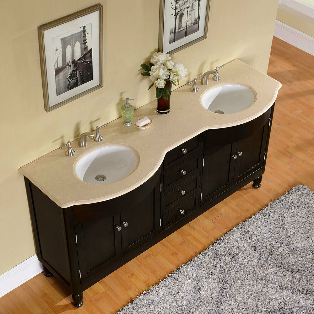 72 inch cream marfil marble stone top bathroom vanity for Bath vanities with tops