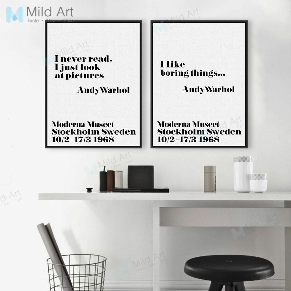 Modern Andy Warhol Inspirational Art Quotes Posters Nordic Home Decor Canvas Art Ebay