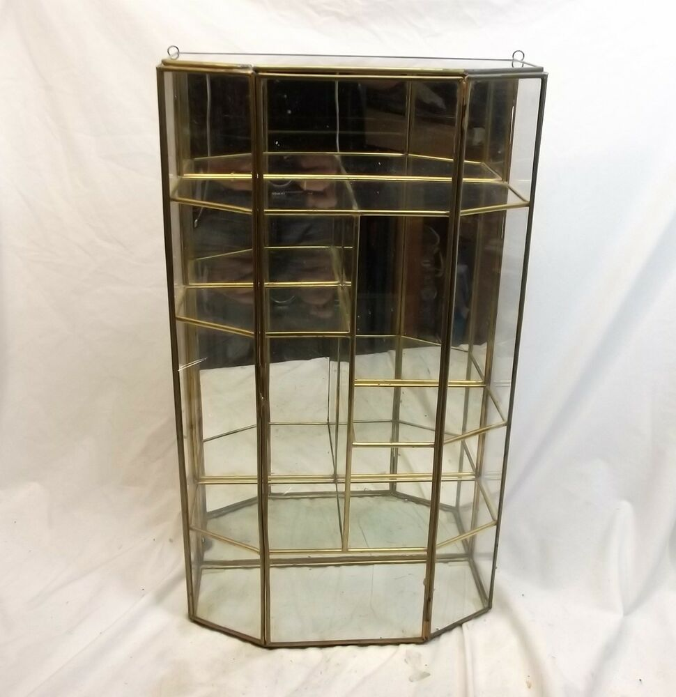 Vtg Brass Glass Table Top Wall Curio Cabinet Display Shelf
