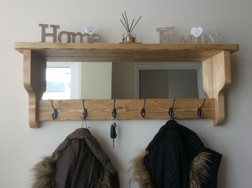 beautiful quality handmade rustic wooden coat hook rack with mirror and shelf ebay. Black Bedroom Furniture Sets. Home Design Ideas