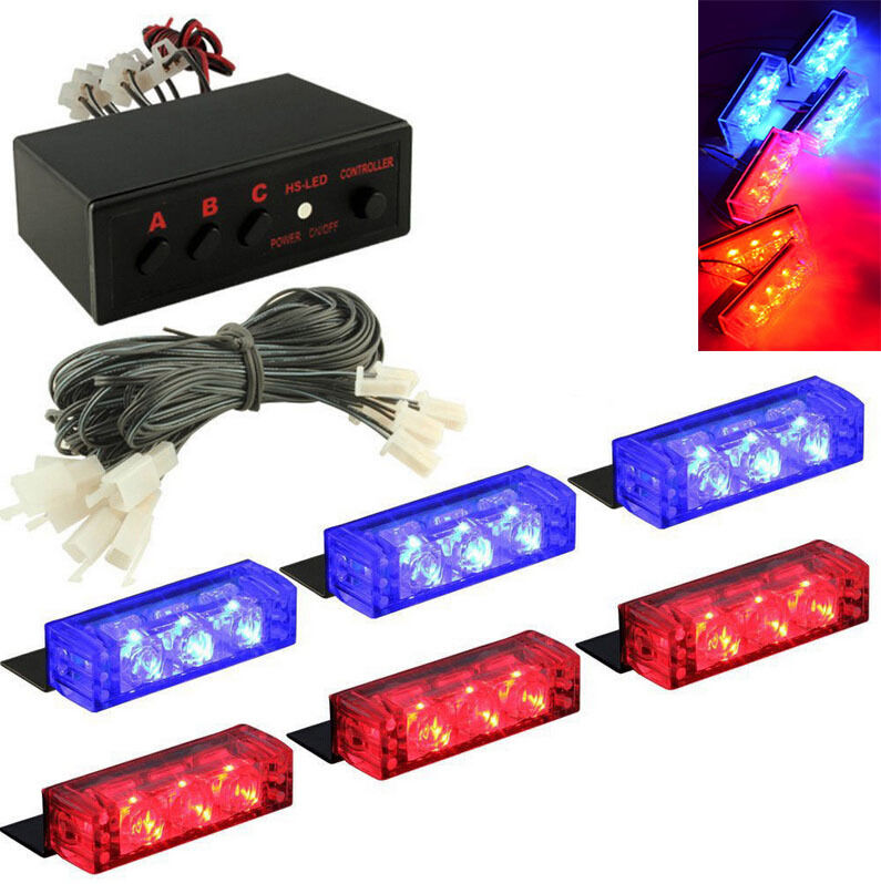 18 led blue red car police strobe flash emergency grill. Black Bedroom Furniture Sets. Home Design Ideas