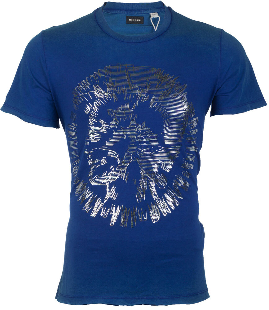 Diesel mens t shirt t mirey mohawk blue silver casual for Silver jeans t shirts