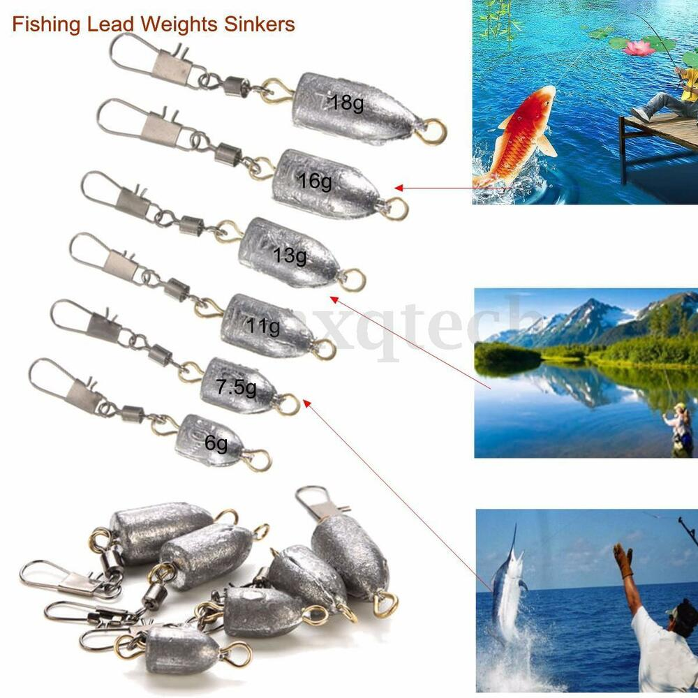 1 5 10 pcs drilled lead weights sinkers leader sea fishing for Types of fishing sinkers