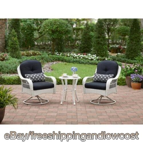 3 Pc Chairs Table White Seats 2 Wicker Bistro Set Swivel