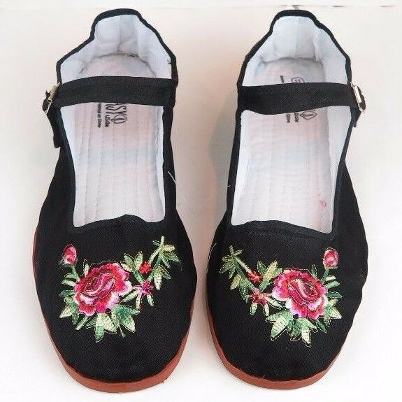 Women's Chinese Mary Jane Floral Cotton Shoes Slippers ...