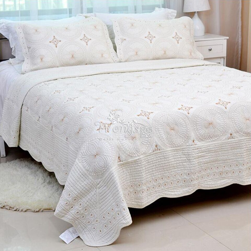 Floral Quilted Bedspreads Cotton Queen King Size Bed