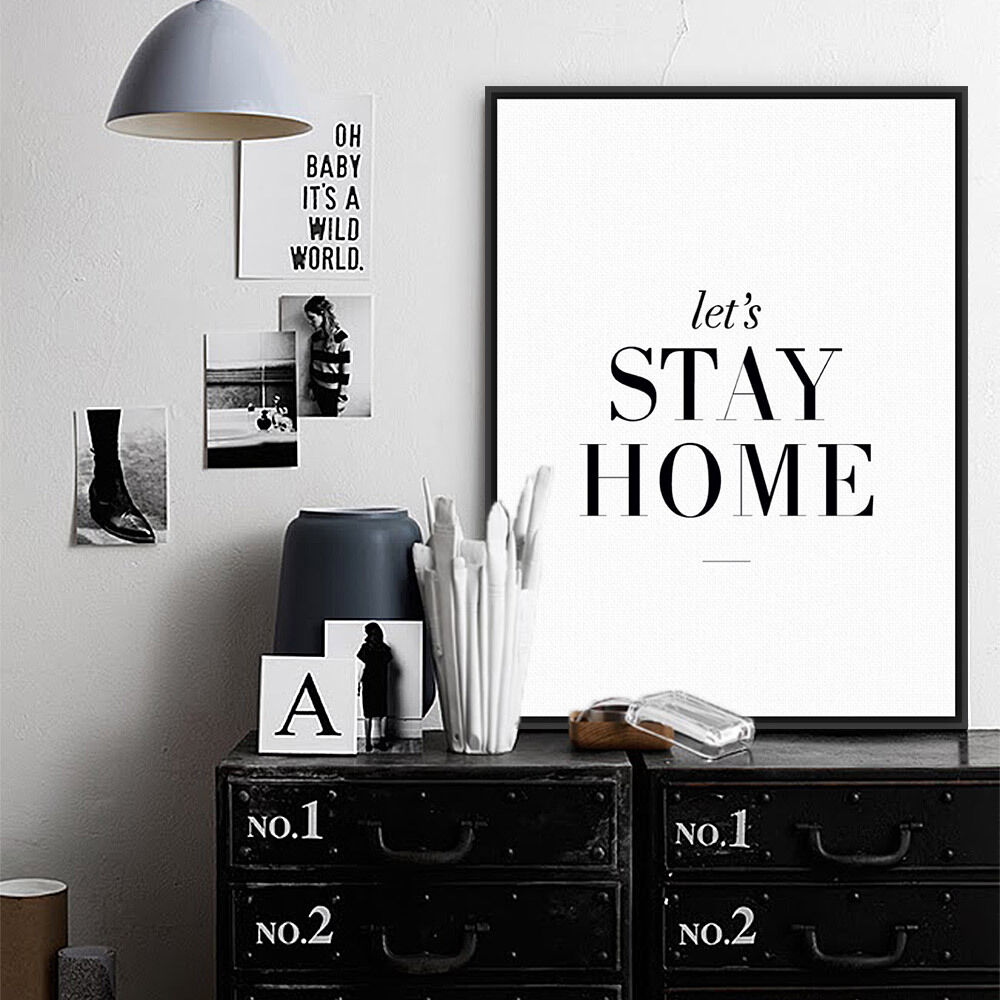 Details about modern black quotes a4 posters prints nordic home decor wall art canvas painting