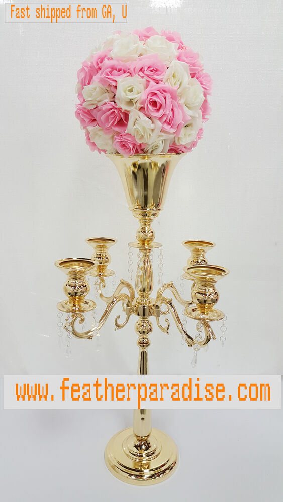 Inches gold arm metal candelabra wedding centerpiece