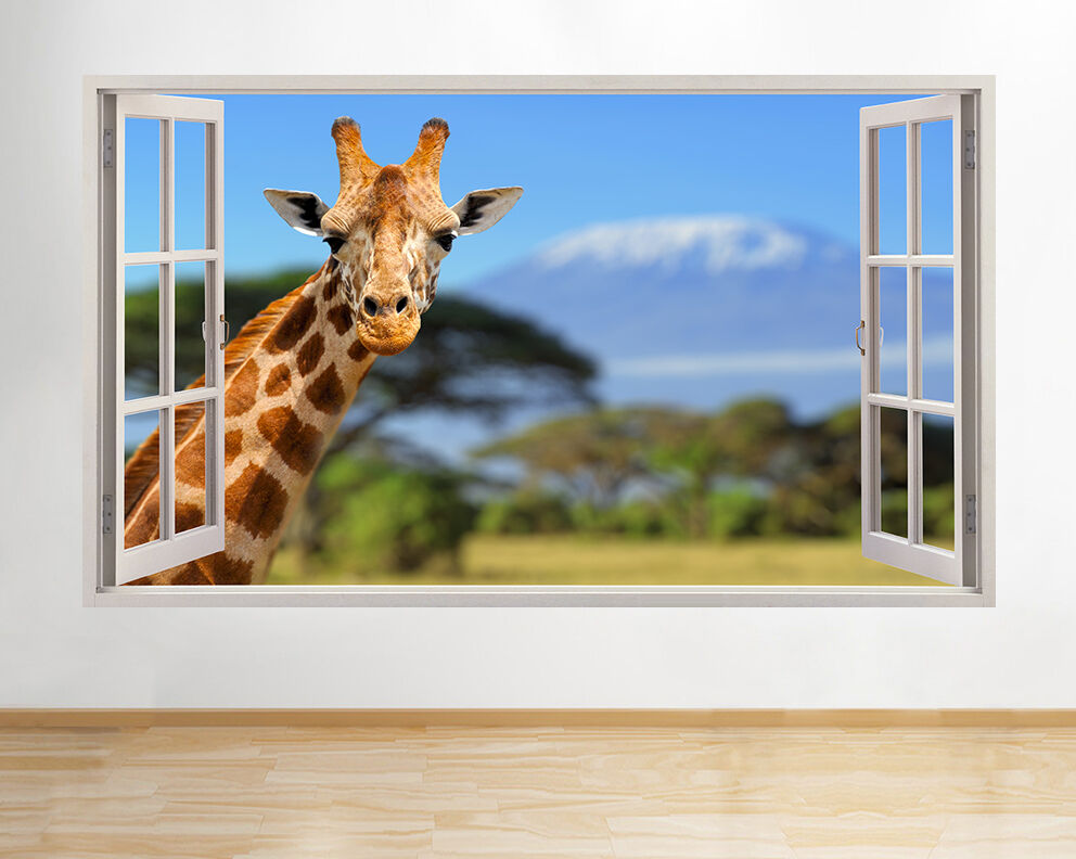 Giraffe Animal Funny Zoo Kids Safari Window View Pane Wall