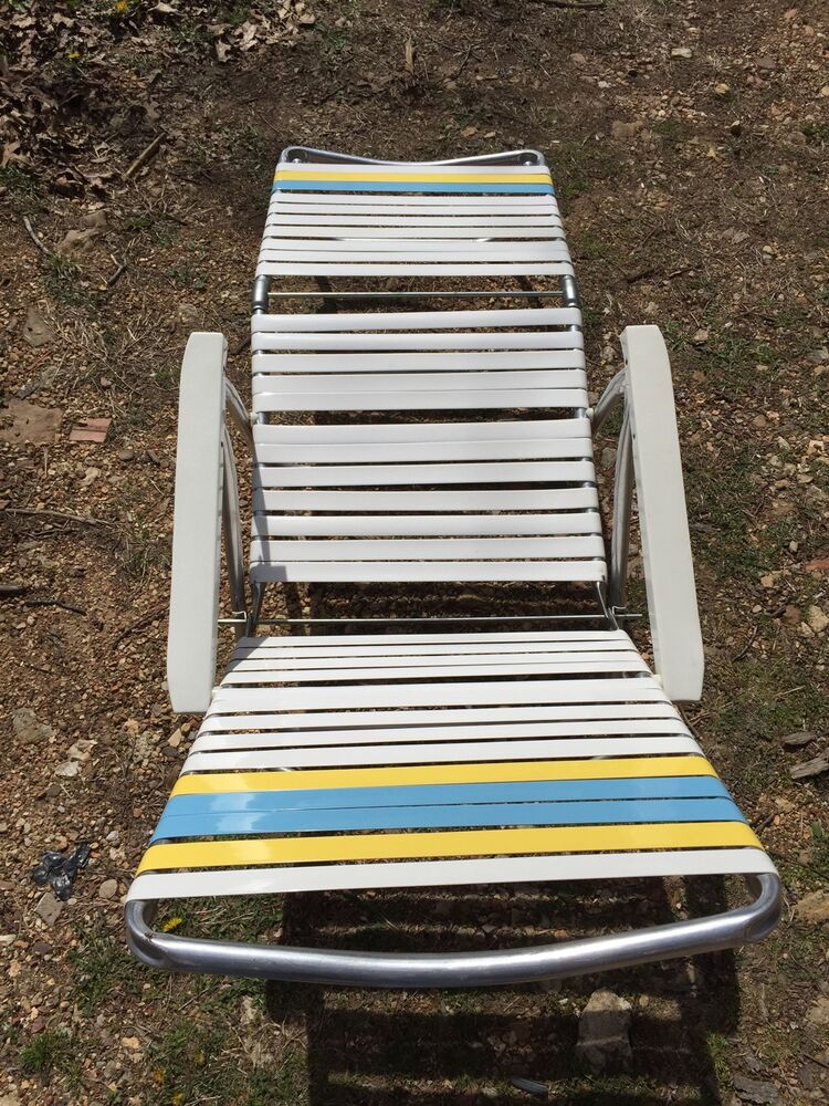 Vintage non woven strap chaise lounge folding lawn chair for Antique chaise lounge ebay