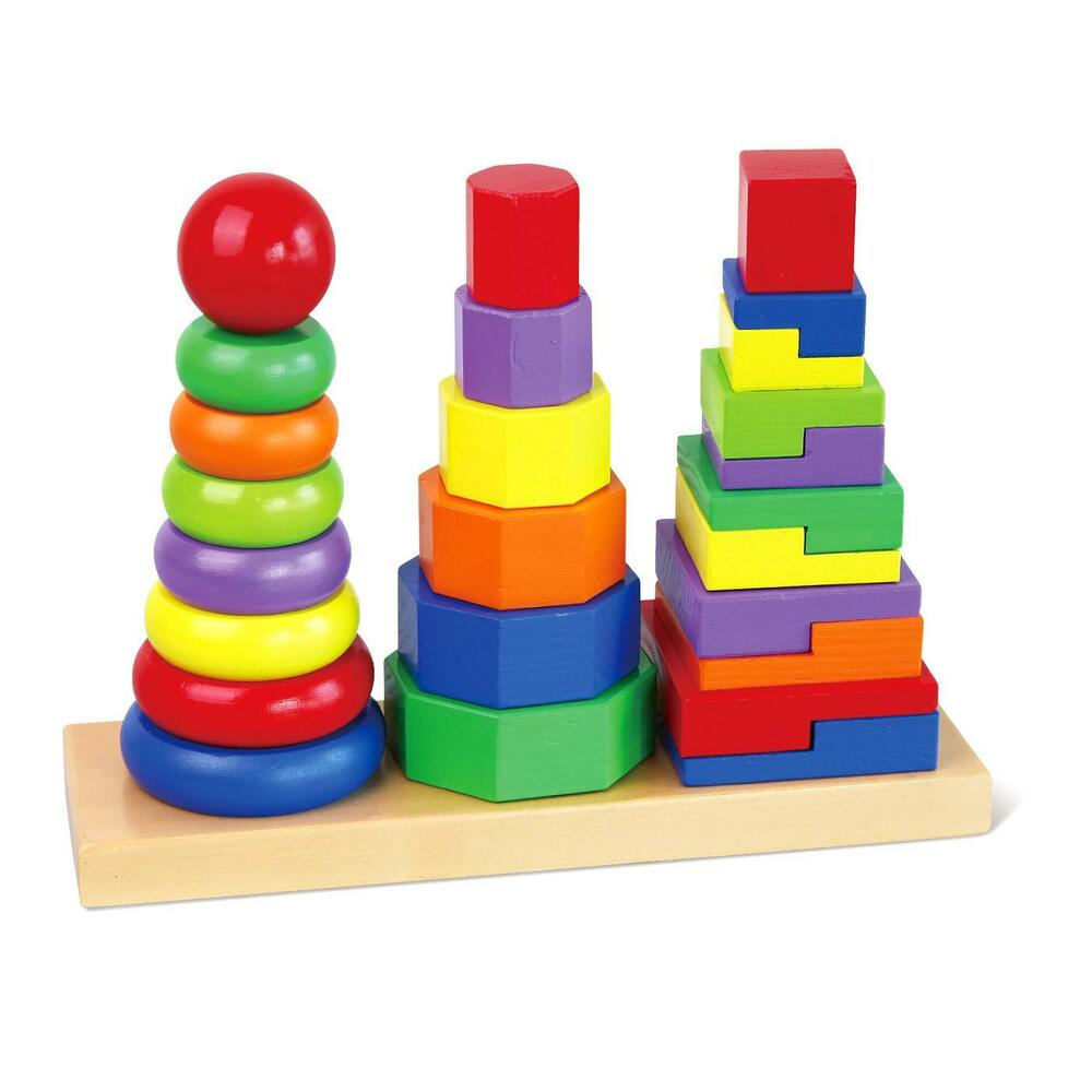 geometric stacker childrens wooden educational stacking blocks puzzle toy 746550218532 ebay
