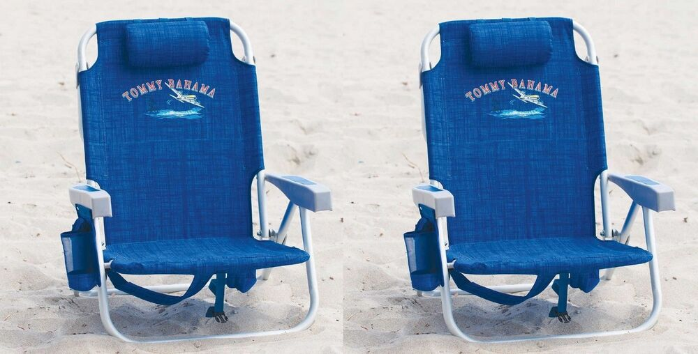 2 Tommy Bahama Backpack Cooler Beach Chairs Blue New